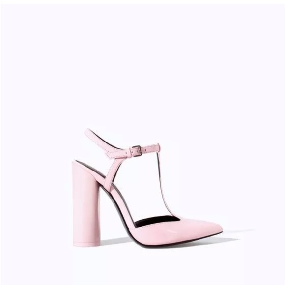 ef758ad72bb Sold Out ZARA Pink Patent T-Strap Block Heels - 36